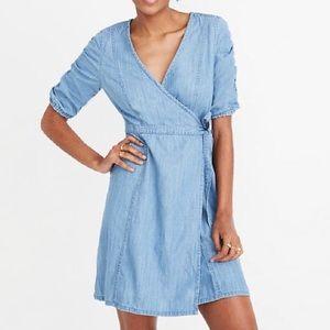 Denim Shirred-Sleeve Wrap Dress in Ellsworth Wash